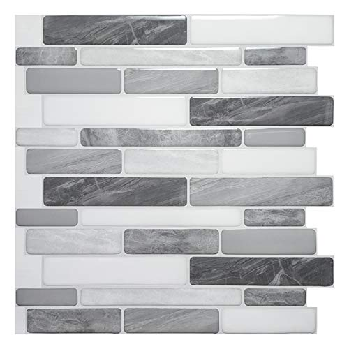 Art3d 10-Sheet Self Adhesive Backsplash, 12 in. x 12in. Grey Marble Design 3-d Wall Panels