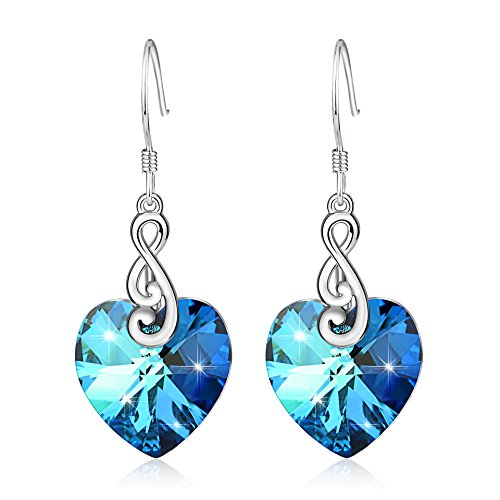 YFN 925 Sterling Silver Ocean Blue Infinity Love Heart Dangle Drop Earrings with Swarovski Crystals Jewelry (Musical Note Blue)