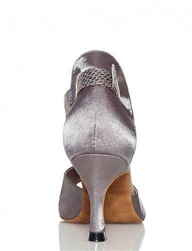 ShangYi Chaussures de danse(Violet / Gris / Autre) -Personnalisables-Talon Personnalisé-Satin / Similicuir-Latine / Jazz / Salsa / Samba / , grey-us6 / eu36 / uk4 / cn36 , grey-us6 / eu36 / uk4 / cn36