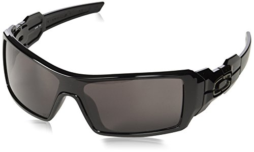 Oakley Oil Rig Men's Lifestyle Sports Wear Sunglasses/Eyewear - Color: Polished Black/Warm Grey, Size: One Size Fits All (Racewear Sunglasses)