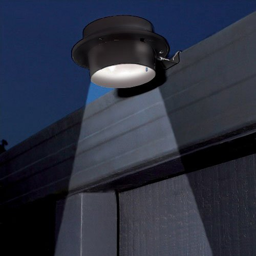 with Battery Pack of 2 Black Superbright 3 LED Solar Powered Lights for Gutters or Garden Fences