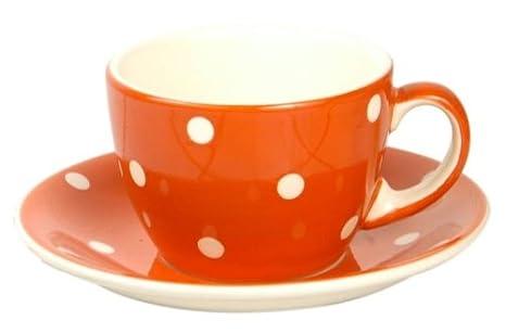 Tasse mit Untertasse Keramik rot- weiß/crème Punkte: Amazon.de ...