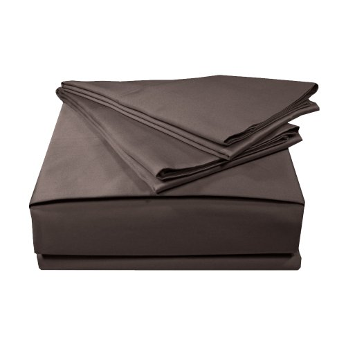 Made In The Usa 800Tc 100  Cotton Sateen Solid Sheet Set  Queen  Espresso By Veratex