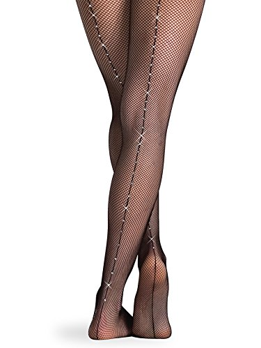 Body Wrappers A64 Backseam Rhinestones Fishnet Tights (Small/Medium)