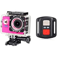 ESCENERY New Full HD 1080P 32G WIFI H16R Action Sports Camera Camcorder Waterproof+Remote+1200 Million High-Definition Wide-Angle Lens. (Hot Pink)