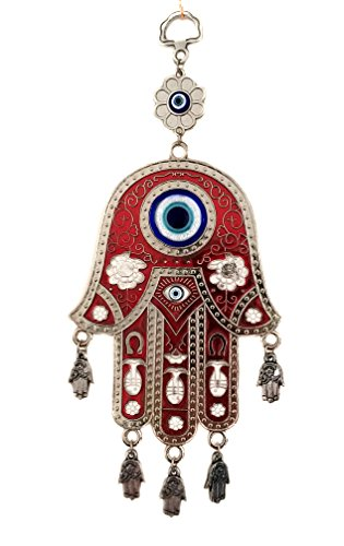 Betterdecor Red Hamsa Evil Eye Protection Almulet Hanging Decoration (with a Pouch)