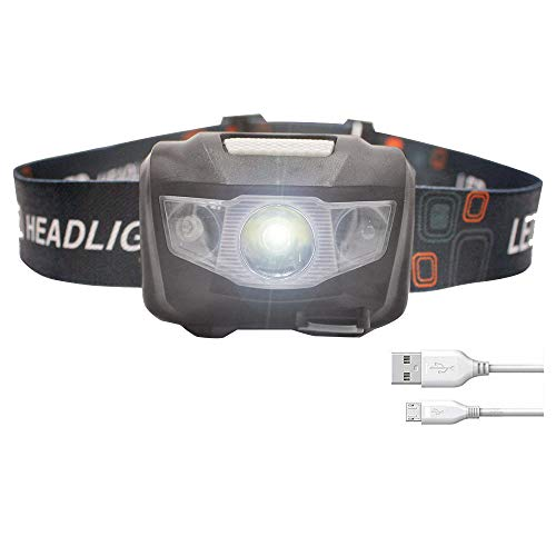 LONGU Led Headlamp Rechargeable Running USB Cable Include 1200MAH Lithium Battery,180Lumens Sensor Function Headlight For Jogging Hiking Fishing Camping