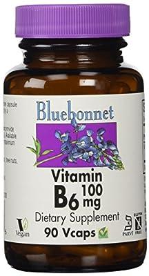 Bluebonnet Vitamin B-6 100 mg Vegetable Capsules, 90 Count