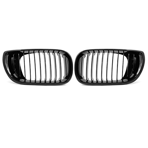 uxcell 2pcs Glossy Black Front Hood Kidney Grille Grill for 2002-2005 BMW E46 4D Sedan 320i 325i 325xi 330i 330xi -