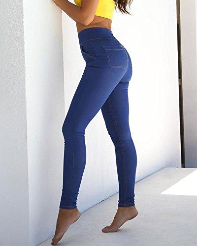 Fermeture Pantalons Bleu Glissire Stretch Taille Push Up Basique Jean Femme Slim Haute C ZIqwpdZ
