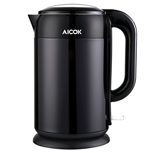 Aicok Stainless Steel Interior Double Wall Cool Touch Cordless Electric Tea Kettle, 1.7-Liter, Black