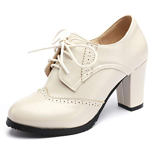 High Heel Oxford Pumps - Odema Womens PU Leather Oxfords Brogue Wingtip Lace Up Dress Shoes Chunky High Heels Pumps Oxfords Beige