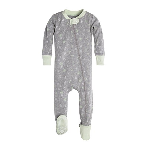 Burt's Bees Baby Unisex Baby Infant Organic Zip Front Non-Slip Footed Sleeper Pajamas, Desert Terrain, 12 Months