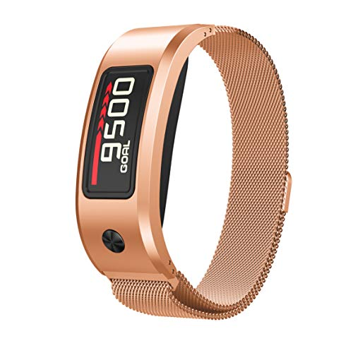 ANCOOL Compatible with Smartwatch Band Women Men, Replacement Stainless Steel Loop Band for Garmin Vivofit 2, NOT for Garmin Vivofit 3/HR/JR (Large, Rose - Jr Rose