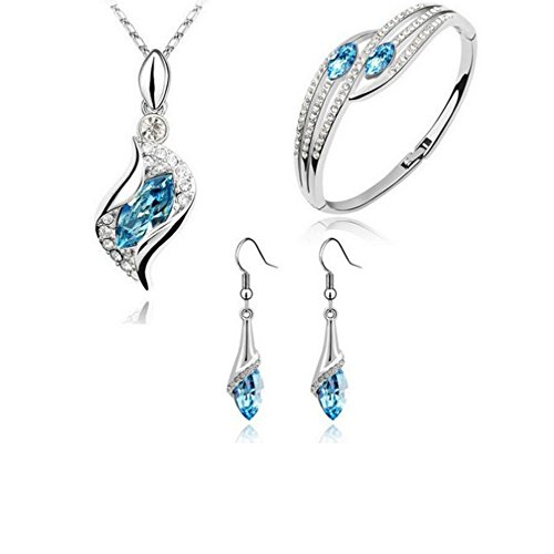 Womens Shirt Garnet (Hyuniture Crystal Necklace Set of 3 Jewelry Set Pendant with Zircon Diamonds Anniversary Blue)