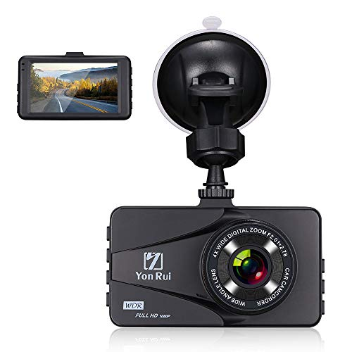 【Zinc Alloy Shell】 Dash Cam Dashboard Camera Recorder- 3″ Full HD 1080P Car DVR Night Vision Camera Recorder for Cars with G-Sensor Motion Detection,WDR, Loop Recording (TF Card Not Included)