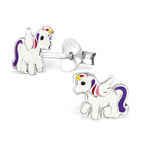 Small White Pink Purple Pegasus Unicorn Pony Horse Studs Earrings Girls 925 Stering Silver (E30567) -