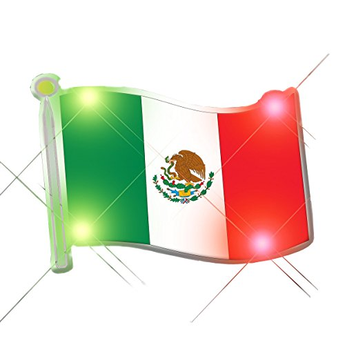 Mexican Flag Flashing Body Light Lapel Pins by Blinkee