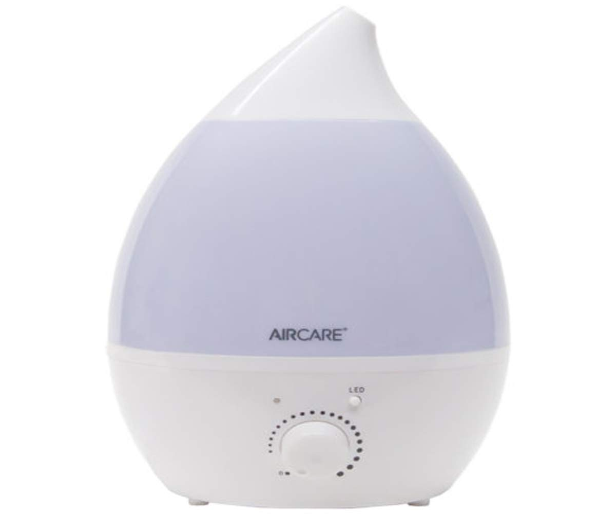 AirCare Aurora Ultrasonic Humidifier with 1 Gal Tank Capacity - Adjustable Nozzle and Multi-Color Nightlight - 9'' L x 9'' W x 13'' H