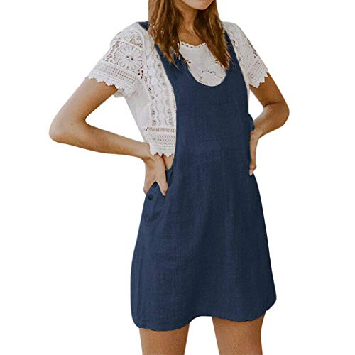 - Womens Dresses Round Neck Sleeveless Overall Pinafore Strap Side Button Straight Dress with Front Pocket (S, Blue)