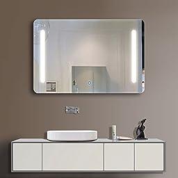 36 x 28 Inch Horizontal LED Bathroom Silvered Mirror/Touch Button(D-N027)