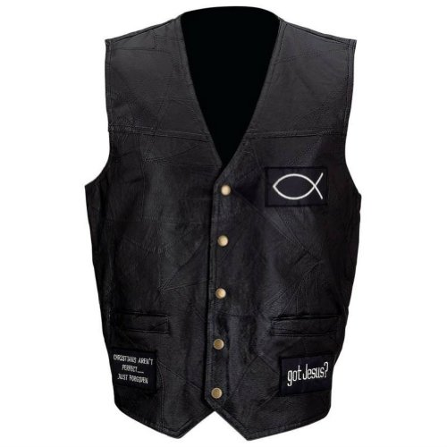 Giovanni Navarre Men's Leather Biker Vest with Christian Patches
