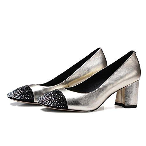 Mariage sur Bureau Strass Pompes Argent NVXIE Intelligent Tribunal Milieu Faible Bloc EUR37UK55 Chaussures Femmes Caleçon Talon GOLD Fête 787qOPFxw