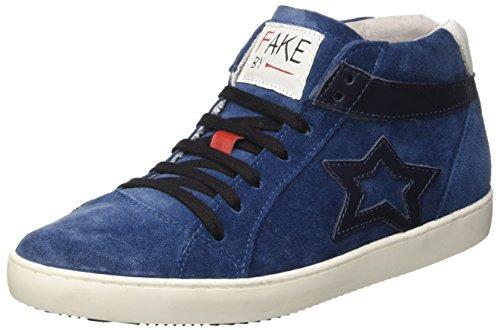 Fake By Chiodo Women's Mid 094 Hi-Top Trainers Blue (Crosta Blu/Sidney Soft Flag Crosta Blu/Sidney Soft Flag) 6JozRv