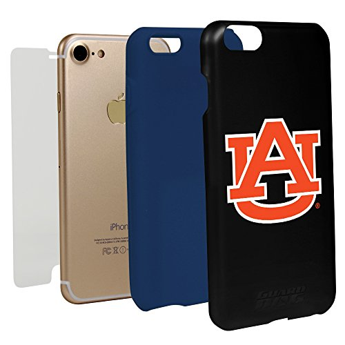 Auburn Tigers Cell Phone Case (Black Guard Dog Hybrid Case for iPhone 7/8 and Guard Glass Screen Protector (Auburn Tigers))