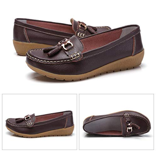 Slip Women Anti Boat On Leather Shoes Skid Oxford V Walking Loafers dark Flats Brown rtAtqHfn