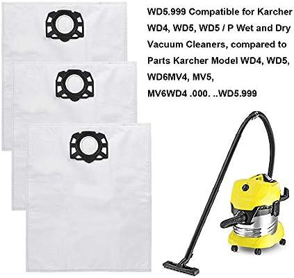 Keepow - Juego de 15 bolsas de fieltro para aspiradora Karcher WD4 ...