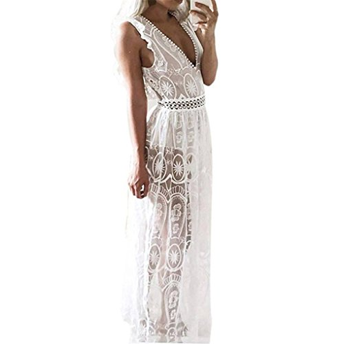 Haoricu Women Dress, Summer Beach Backless Transparent Hollow Out Lace Long Ladies Dress (M, White)