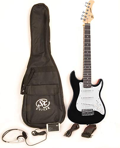 Electric Guitar Package 1/2 Size (30 1/2″) Beginner Black w/ Amp, Strap, and Carry Bag SX RST 1/2 BK