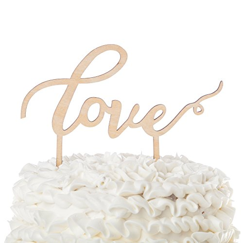 Love-Wooden-Wedding-Cake-Topper-Cursive-Letters-Rustic-Decoration-Love
