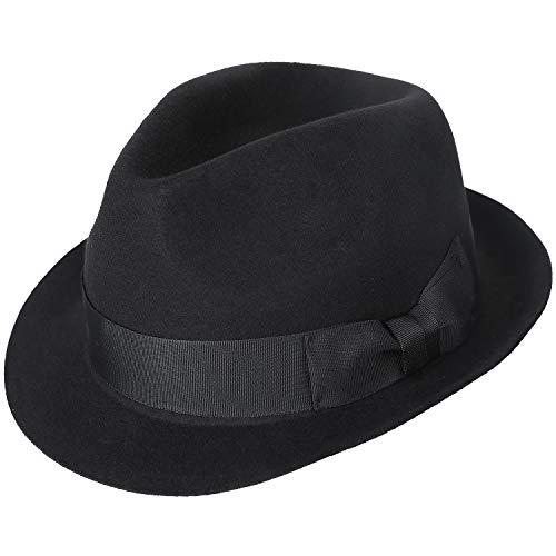Janetshats Unisex Wool Trilby Felt Fedora Hats Short Brim Panama Jazz Bowler Hat ()