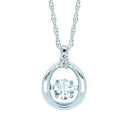 14K White Gold Dancing Diamond Circle Pendant Necklace, 18