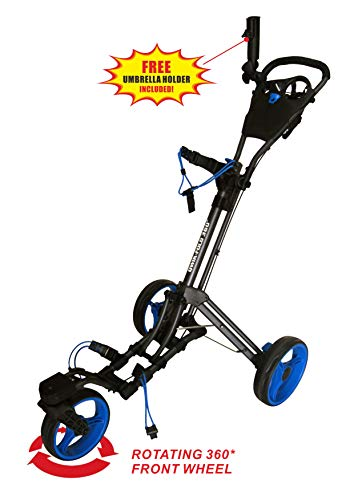 Qwik-Fold 360 Swivel 3 Wheel Push Pull Golf CART - 360 Rotating...