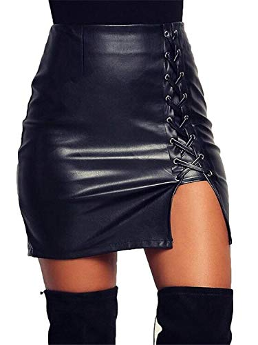 Choies Women's Black Cut Out Mid Waist Asymmetric Hem PU Mini Skirt (X-Large, Black-New)