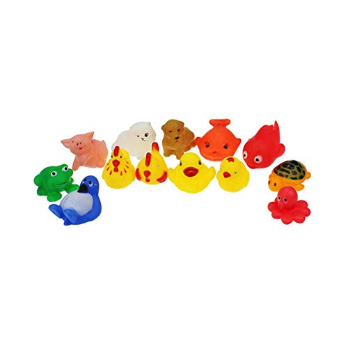 JIDSFIE One Dozen 13pcs Rubber Animals with Sound Baby Shower Party Favors Bathtub Floating Toy Lovely Mixed Animals Colorful Gift for Boy Girl Safety Material -
