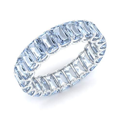(Diamondere Natural and Certified Aquamarine Wedding Ring in 14K White Gold | 6.25 Carat Emerald Cut Full EternityStackable Band Size 7)