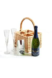 Greenfield Collection Celebration Willow Hamper with Champagne - Flutes and Chocolate Truffles