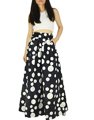 YSJERA Women's High Waist A-Line Pleated Maxi Skirts Party Swing Skirt with Pockets (10, Black Dot)