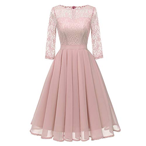 DEATU Clearance Womens Dresses Ladies Vintage Princess Floral Lace Cocktail O-Neck Party A-line Elegant Swing Dress(Pink,M)]()