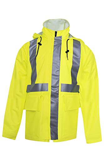 National Safety Apparel R30RL05XL Arc H2O FR Rain Jacket, Class 2, X-Large, Fluorescent Yellow by National Safety Apparel Inc (Image #1)