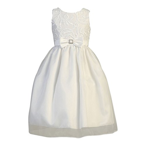 Lito Big Girls White Ribbon Tulle Taffeta Bow Holly Communion Dress 12