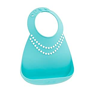 Make My Day Silicon Baby Bib with Pearls, Blue/White