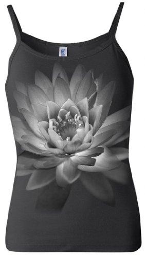 Cheap Yoga Clothing For You Ladies Lotus Flower Spaghetti Tank, Medium Black