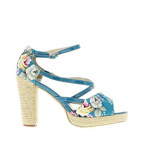 Sandales femme bleues à talon de 9.5cm
