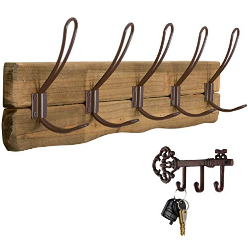 LULIND - Rustic Wall Mounted Coat Rack with 5 Brown Hooks and 1 Key Holder (Real Cedar Wood)