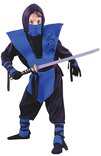 Blue Ninja Girl Costume (GTH Boy's Ninja Complete Blue Kids Child Fancy Dress Party Halloween Costume, M (8-10))
